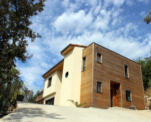 maison ossature bois bardage bioclimatique passive basse consommation clermont herault