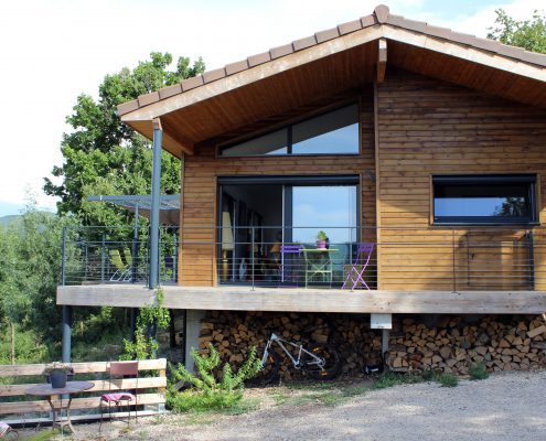 maison ossature bois bardage bioclimatique passive lodeve