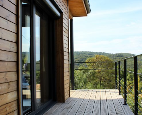 maison ossature bois bardage bioclimatique passive terrasse lodeve
