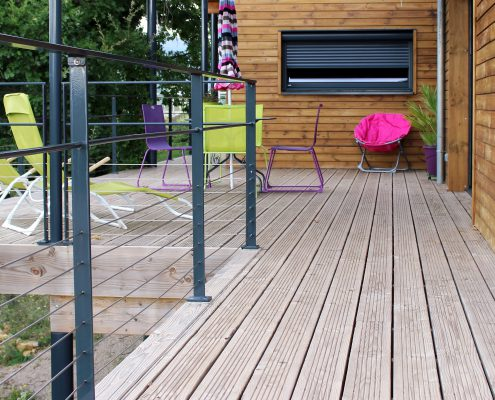 terrasse bois douglas garde corps metal lodeve
