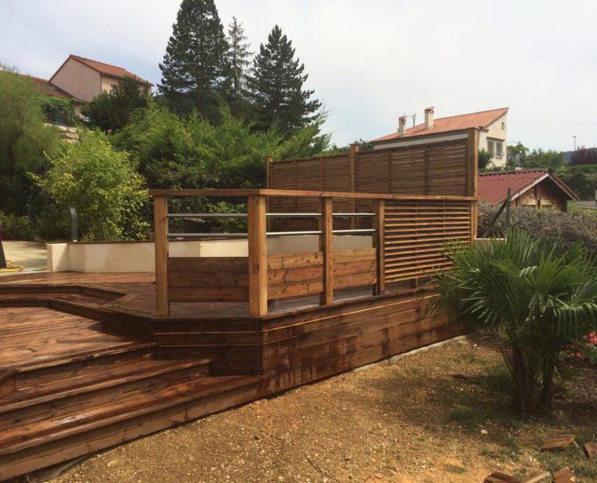 terrasse bois piscine garde corps bois millau