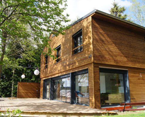maison ossature bois bardage bioclimatique basse consommation salles curan