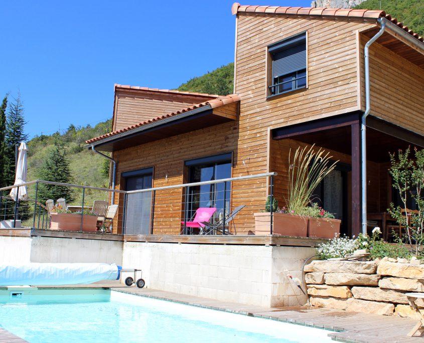 maison ossature bois bioclimative passive basse consommation bardage millau