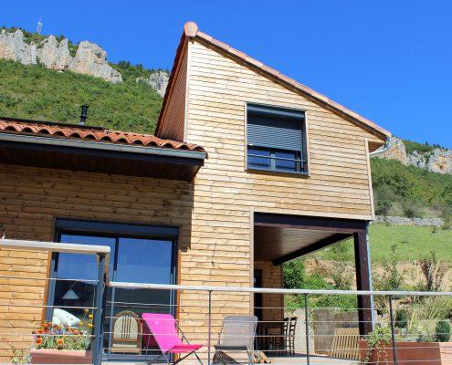 maison ossature bois bioclimative passive basse consommation bardage piscine millau